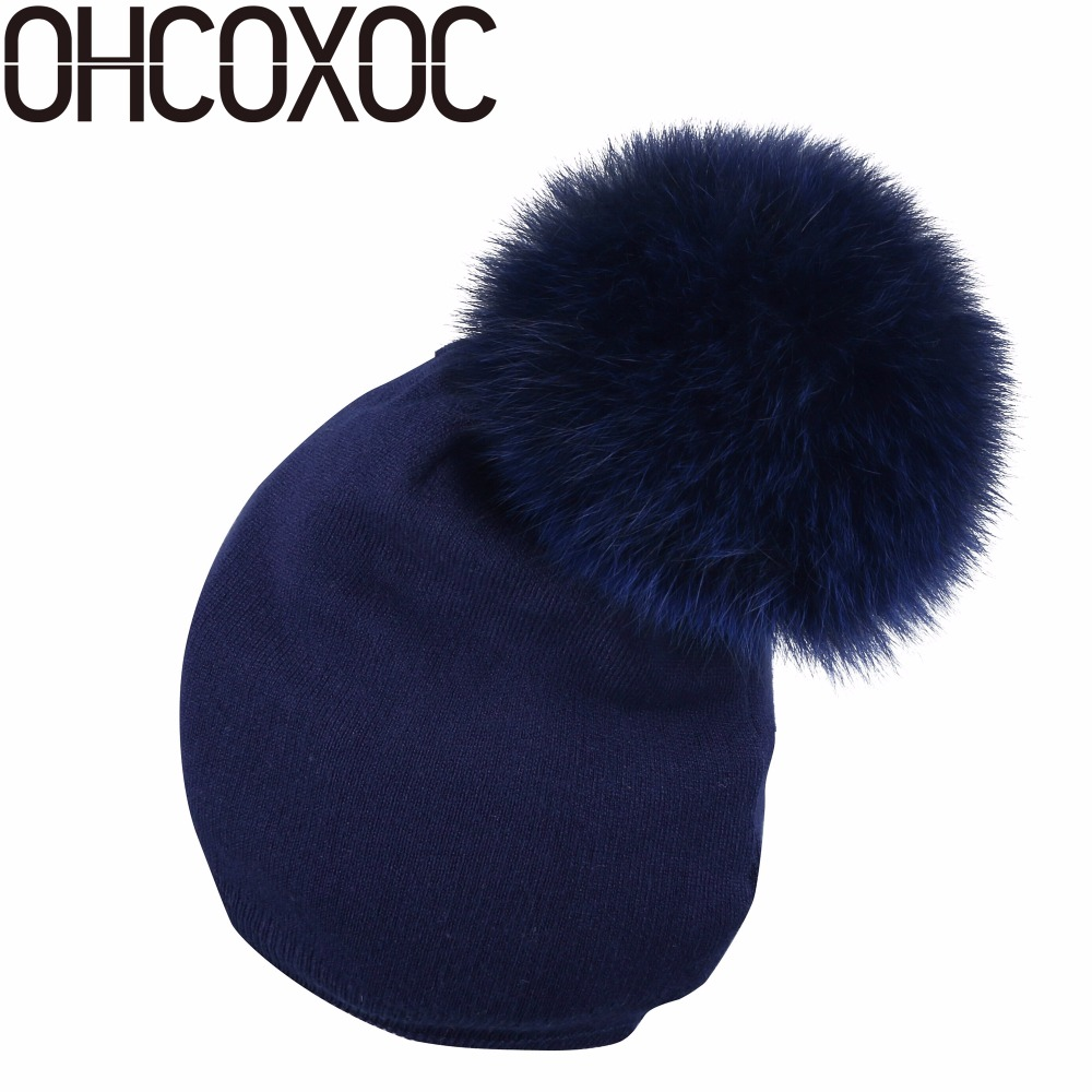 OHCOXOC New Women   Beanies   Real Fox Fur Pom Poms Ball Cap Keep Warm   Beanies     Skullies   Solid colorful thermal Cashmere winter hats