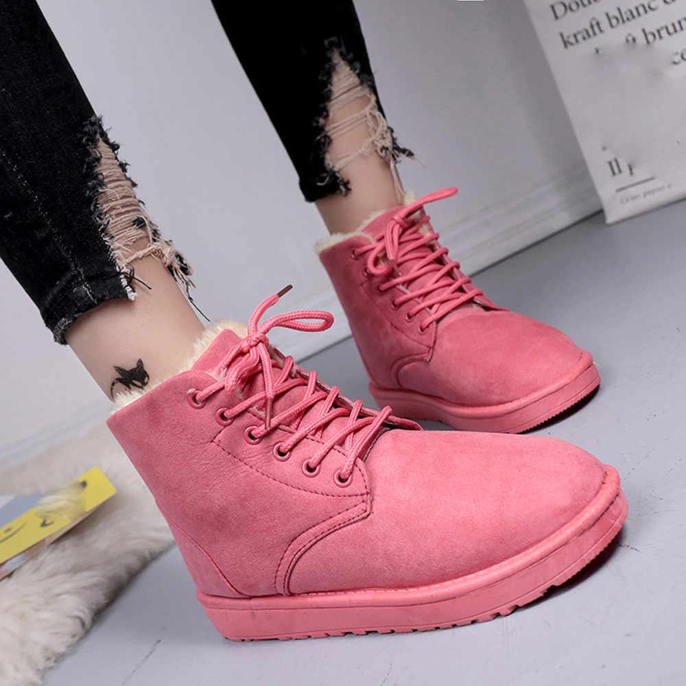 Thời trang Mùa Đông Nữ Ủng Phẳng Nền Tảng Tròn Mũi Giày Phối Ren Giữ Ấm Feminino estampado # L4
