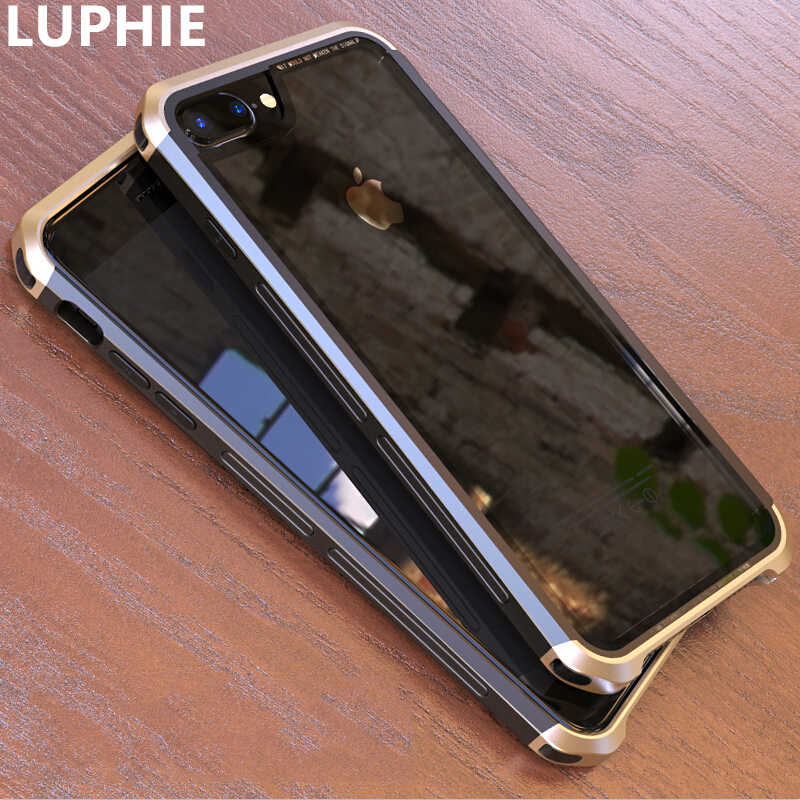 LUPHIE Voor iPhone 8 Plus Beschermhoes Luxe Hard Metal Aluminium transparant Glas Back Cover voor iPhone 6 plus 6 s plus 7 Plus