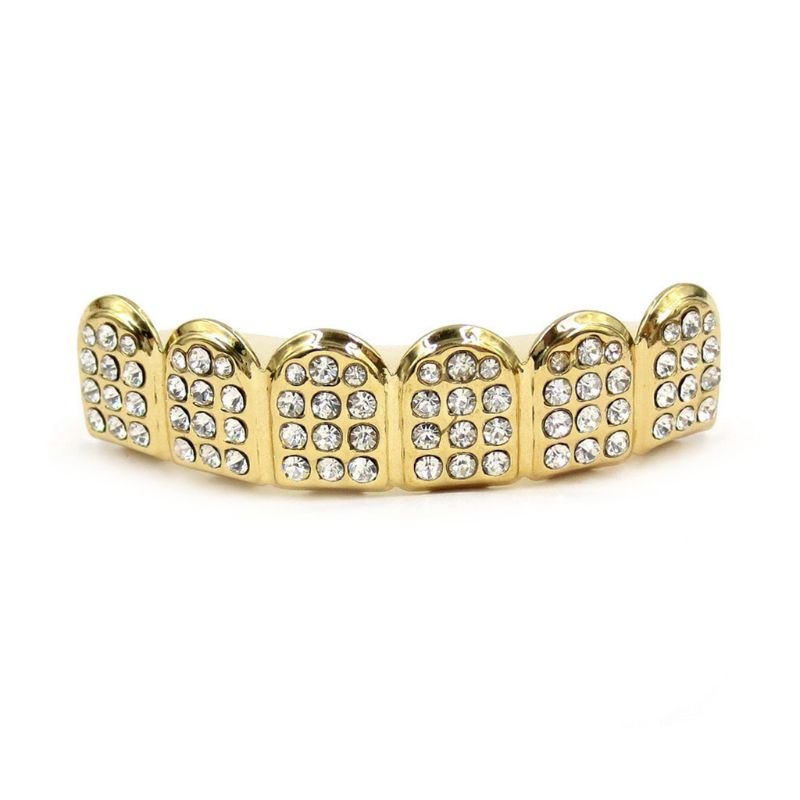 New Fshion Hip Hop Gold Silver Colour Iced Out CZ Teeth Grillz Top Bottom  Men Women Jewelry 4