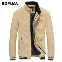 BOYUAN Man Jacket Bomber Jacket 2017 New Fashion Brand Clothing Stand Collar Regular Blouson Homme Cotton