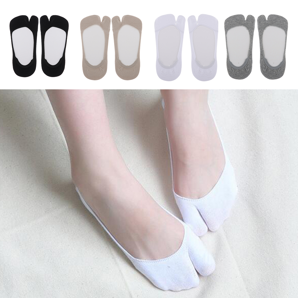 1 Pair Women's Big Toe Flip Flop Tabi Socks V Toe Tabi Ankle Socks Casual Boat Hidden Invisible Socks Non-Slip Socks For Flats