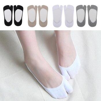 1 Pair Women's Big Toe Flip Flop Tabi Socks V Toe Tabi Ankle Socks Casual Boat Hidden Invisible Socks Non-Slip Socks for Flats фото