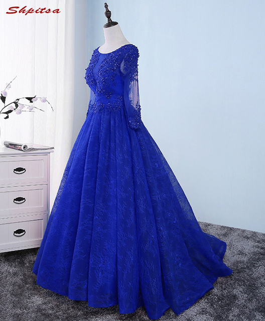 ceabe00341f Royal Blue Long Sleeve Lace Evening Dresses Party Beautiful Beaded Women Prom  Formal Evening Gowns Dresses On Sale abendkleider