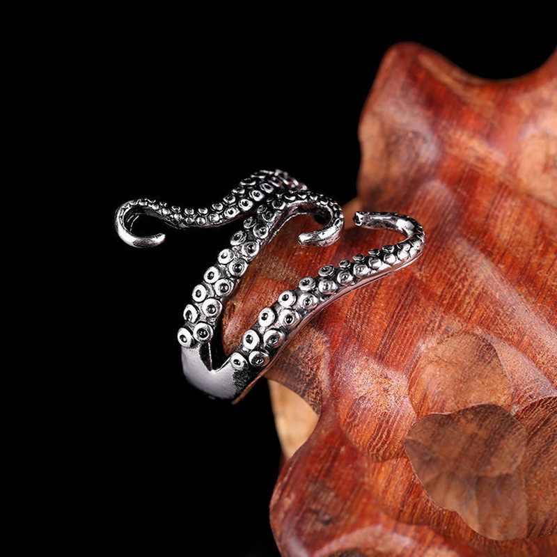 Rinhoo Cool แหวนไทเทเนียมสตีล Gothic ทะเลลึกปลาหมึก Octopus แหวนแฟชั่นเครื่องประดับเปิดปรับขนาดคุณภาพสูง