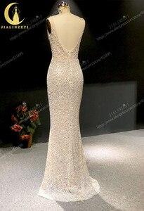 Image 3 - Rhein echt Bilder Tiefem V ausschnitt Sexy Voller Perlen Kristall Meerjungfrau Champagne Formale kleid prom kleider arabisch abendkleider lange