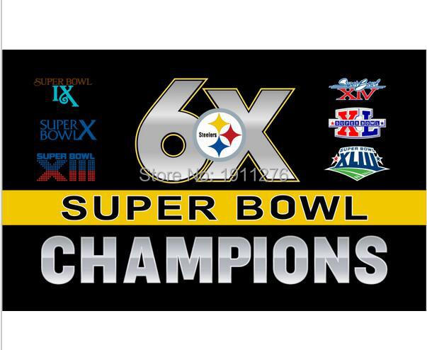 3X5FT Pittsburgh Steelers NFL 6 Time Super Bowl Champions Flag 150X90CM Banner brass metal holes