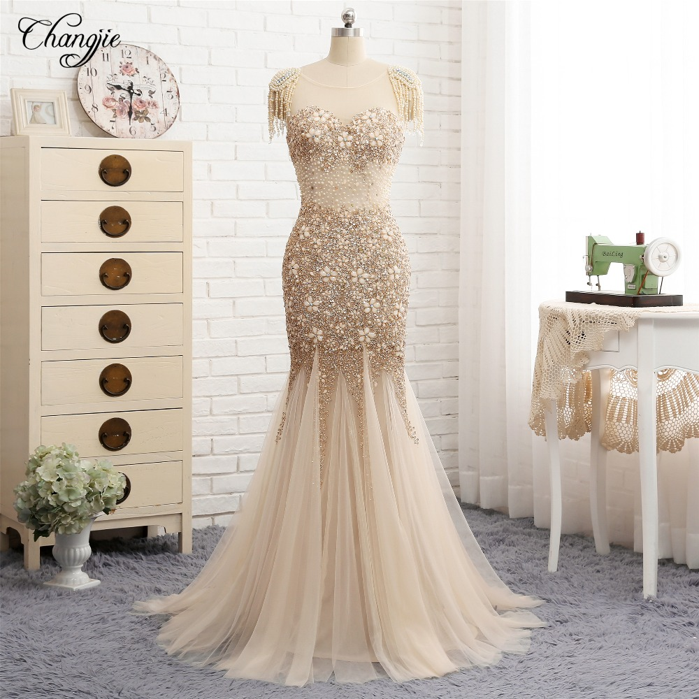 New Arrival Mermaid Evening Dress 2018 Sweetheart Neck Floor Length Beaded Appliques Tulle Long Prom Dresses