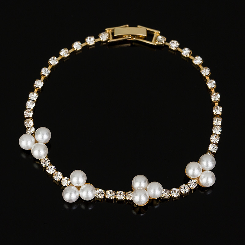 Chran Elegant Deluxe Gold Color Rhinestone Crystal Simulate Pearl Bracelets Bangle Jewelry For Women Girl Gift Wholesale