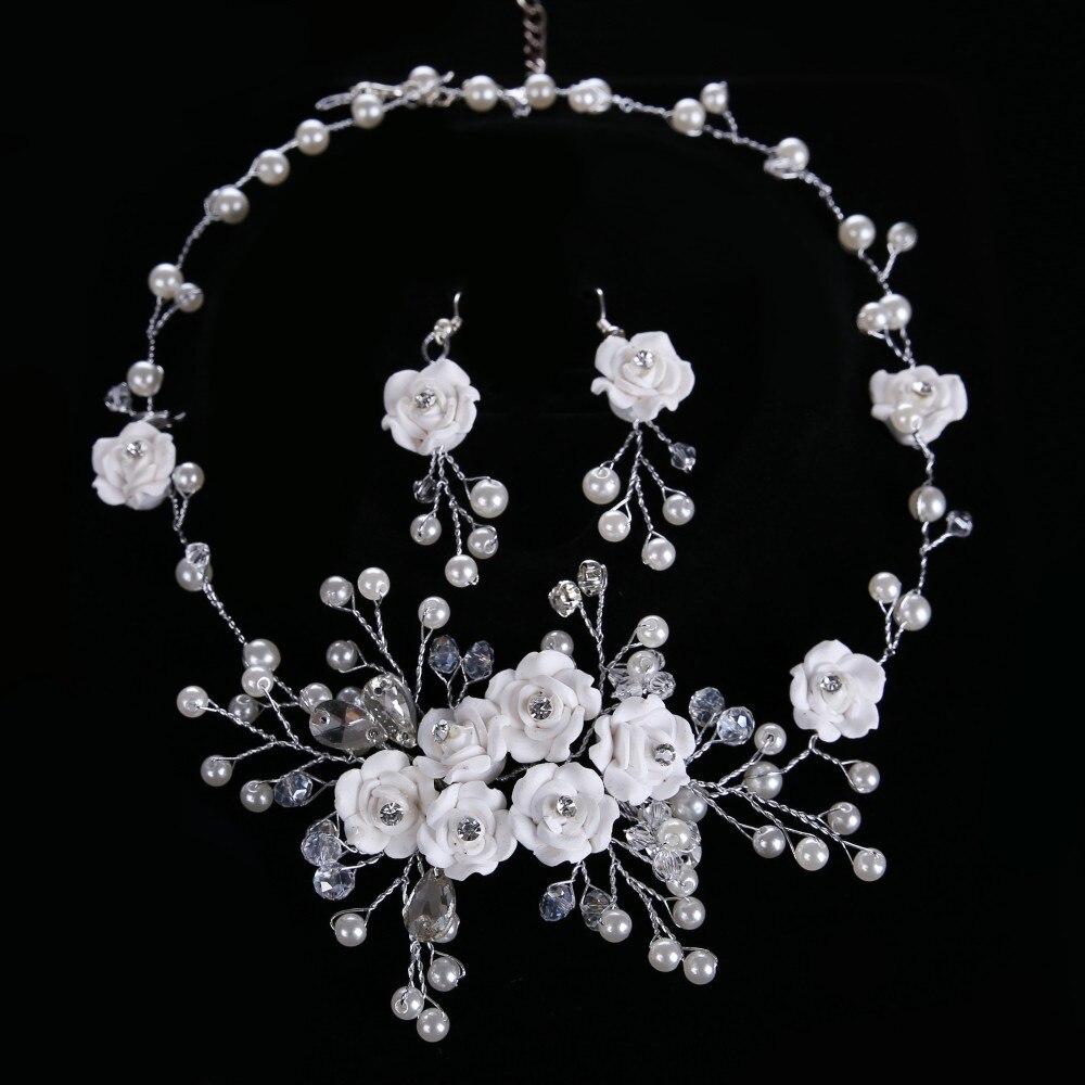 Awstaya Ornament Store Romantic New Design Women Tiara Hairwear Crown Earrings Set simulated pearl CrownEarrings Bridal Jewelry Hairwear