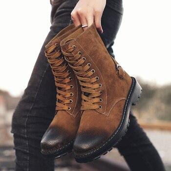 Лидер продаж человек сапоги Martens Черный, серый цвет Мужские Демисезонный сапоги Удобная Рабочая защитная ботинки на шнуровке Повседневная ...