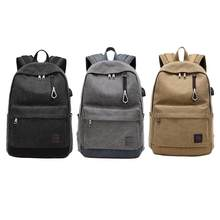 USB Charge Canvas Backpack Notebook Laptop Bag Teenagers Men Women Bags Anti Theft Men Backpacks Unisex Knapsack(China)