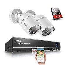 SANNCE 4 Canal 720 P DVR CCTV Système de Caméra 1 TB HDD 2 PCS 1200TVL 720 P IR Extérieure de Sécurité Système de caméra de Surveillance Kit