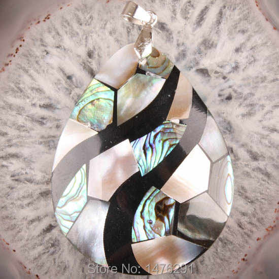 50x40MM Abalone Mother of Pearl Mop Shell Bead Teardrop Pendant New