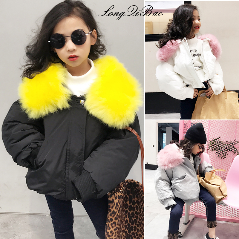 Girls Korean version of the cotton coat large fur collar loose short loose coat cotton clothing 2018 winter new big children cot 2016 new arrival women s luxury jacket short paragraph korean version nagymaros collar female was thin tide coat mz575 page 4 page 1