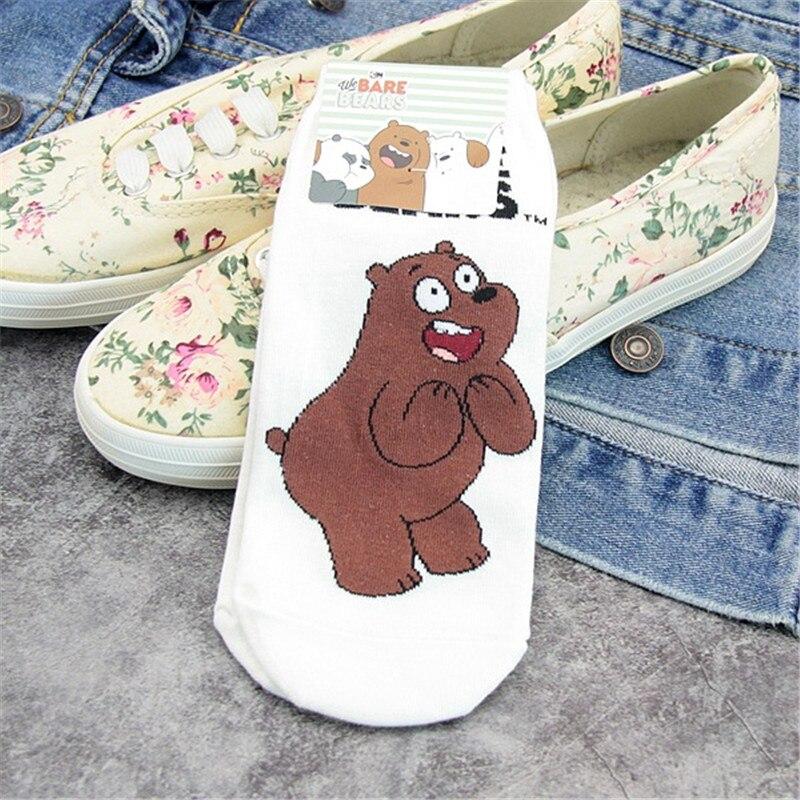 New We Bare Bears Short Cotton Socks Women Summer Cartoon Boat Socks Slippers Female Soft Low Socks