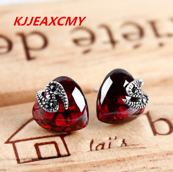 KJJEAXCMY Thai argent rétro mode bijoux en argent 925 argent grenat rubis bleu tempérament femme en forme de coeur boucles d'oreilles