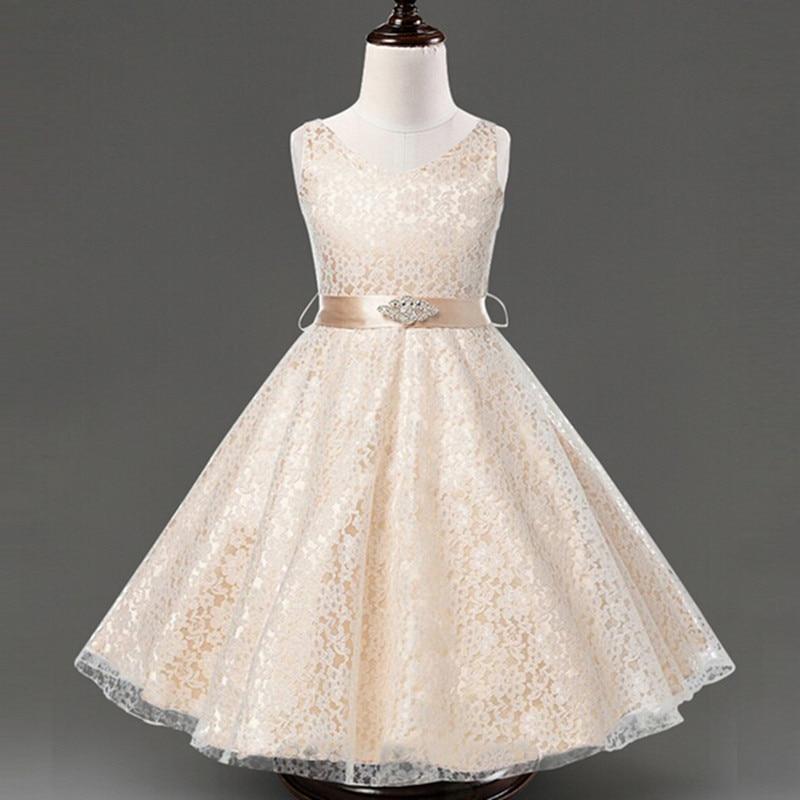 2016 Summer Girls Lace Dress + Diamond Belt Kids Party Princess Evening Dress Sleeveless Girl Dresses Children Clothing Vestidos