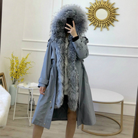Winter Jacket Women Brand Waterproof Parka 2019 Real Fur Coat Natural Raccoon Fur Collar Real Rex Rabbit Fur Liner Detachable
