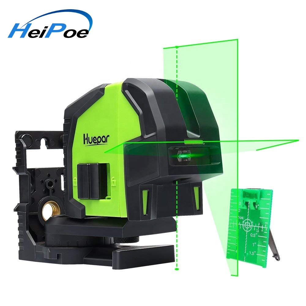 Cross Line Laser Level With 2 Plumb Dots,Green Laser Beam Fan Angle Of 130 Selectable Vertical & Horizontal Lines Multi-Use