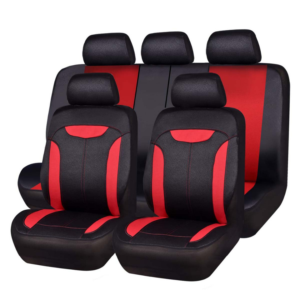 Car Seat Covers Aritifical Leather Mesh Fabric Black Red Gray Blue