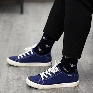 Image 5 - Match Up calcetines de algodón para hombre, de talla grande, de compresión de calidad, con patrón de serie de animales, calcetines de negocios para hombre (5 par/lote) US 7,5 12
