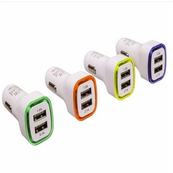 100pcs Universal LED Lights 5V 2.1A+1A 2ports dual usb car charger Adapter for iphone 5s 6 7 8 for samsung htc blackberry lg