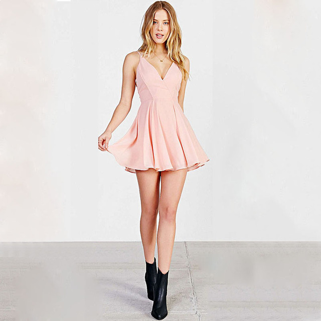 329525a8041 Simple Blush Pink Chiffon A Line Cocktail Dresses V Neck Backless Short  Party Dress for Girls Robe de Soiree SH0689