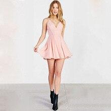 Einfache Erröten Rosa Chiffon-Eine Linie Cocktailkleider V-ausschnitt Backless Kurzes Kleid für Mädchen Robe de Soiree SH0689