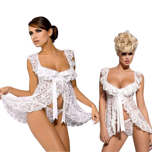 74b09a908c8 White Red Black Lace Baby Doll Sexy Lingerie Plus Size 4XL 5XL 6XL Bridal  Nightgown Sets
