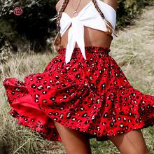 Conmoto Colorful Leopard Print Ruffles Short Black Skirt Lace Up Women Skirts Summer 2019 High Waist Red Mujer Skirt