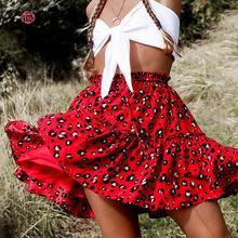 Conmoto สีสันเสือดาวพิมพ์ Ruffles กระโปรงสั้นสีดำ Lace Up กระโปรงผู้หญิงฤดูร้อน 2019 เอวสีแดง Mujer กระโปรง