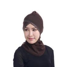 Womens Face-lift Muslim Hijab Ninja Single Cross Hot Drilling Lace Underscarf Head Islamic Cover Bonnet Hat Cap Scarf Y4
