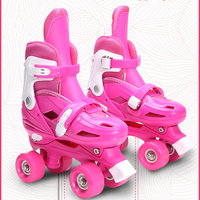 Lovely Kids Children Girl Pink Double Line Quad Parallel Figure Skates Shoes Boots PU 4 Wheels Shockproof With Brake Stable