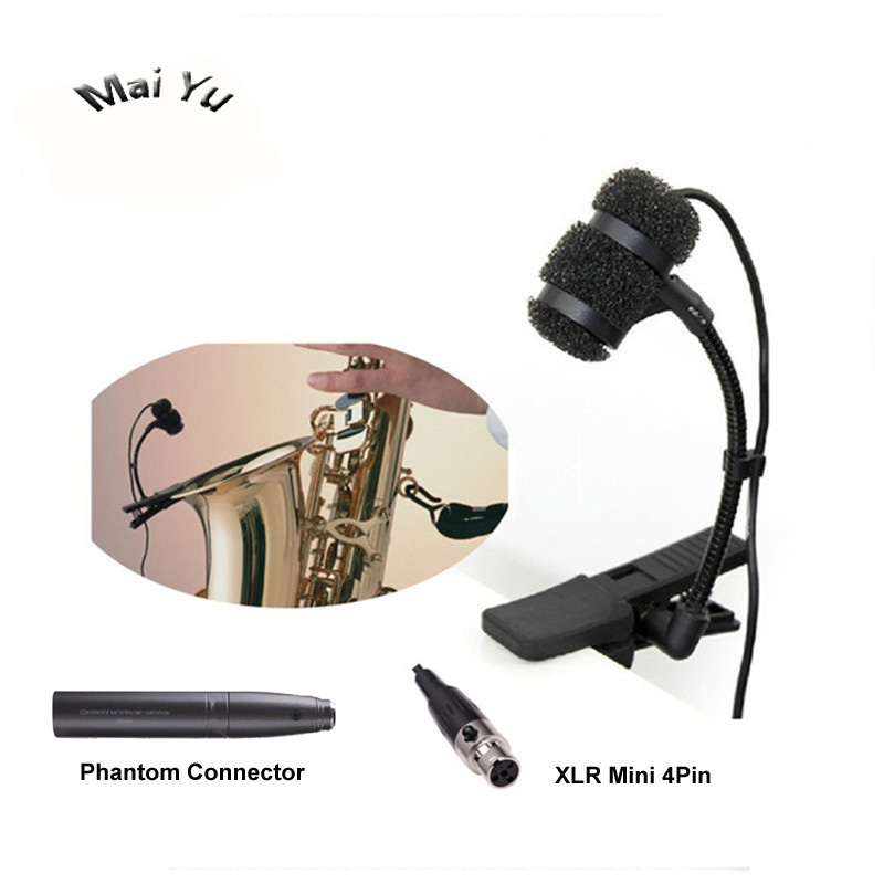 Professional Lapela Instrument Condenser Saxophone Microphone Music Microfone for Shure Wireless System XLR mini 4Pin Transmitte