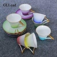 GLLead Gradual Change Rainbow Bone China Tea Cup Saucer Set Creative Ceramic Coffee Cups Teacup Porcelain Fashion Gift