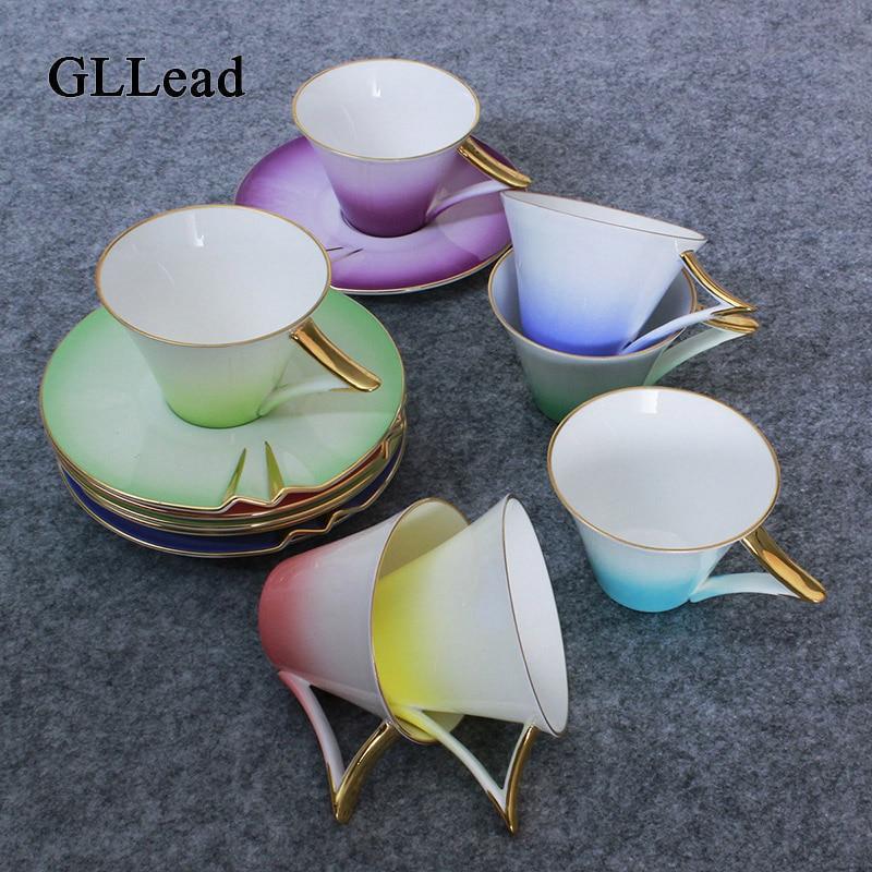 GLLead changement progressif arc-en-ciel os chine thé tasse soucoupe ensemble créatif en céramique tasses à café tasse à thé porcelaine mode cadeau