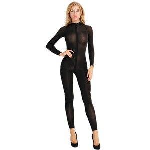 Image 4 - สตรีเซ็กซี่ Bodystocking ชุดชั้นในแขนยาวเรียบเส้นใยคู่ซิป SHEER เรียบดูผ่านเปิด Crotch Bodysuit Jumpsuit