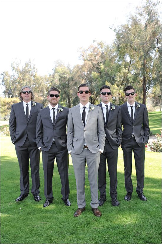 Custom Made Gray Black Groomsman Suit 2 Piece Slim Fit Groom ...