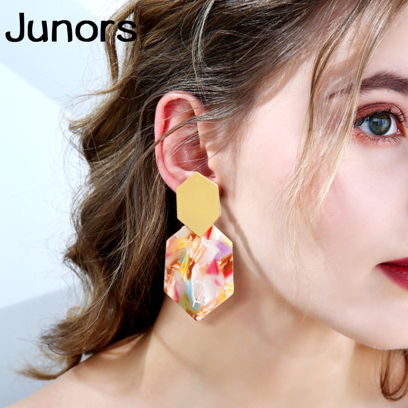 vintage Metal acrylic tortoiseshell 2019 women earring brushes boho statement leopard earrings for women fashion jewelry party in Drop Earrings from Jewelry Accessories
