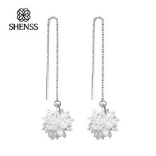 925 Sterling Silver for women Delicate snowflake shape earrings
