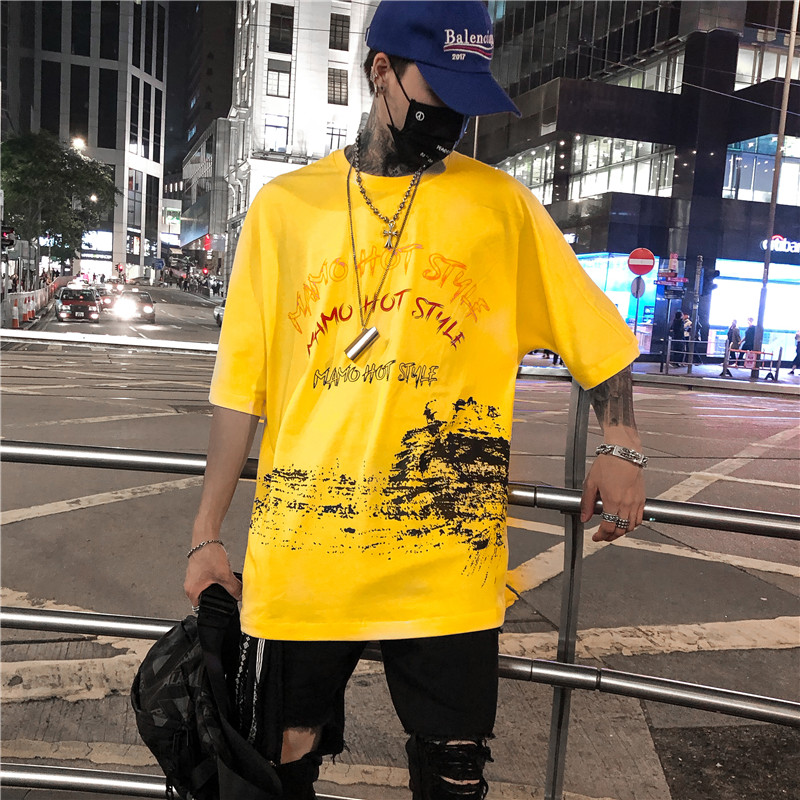 Letter Print US Size Men's T-shirt Short Sleeve 2018 Summer Round Neck Urban Tee Shirts Tshirt for Men Black Yellow