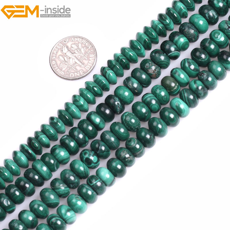 Gem-inside Grade A Natural Rondelle Smooth Malachite Spacer Beads For Jewelry Making Bracelet Necklace Strand 15 DIY Jewellery
