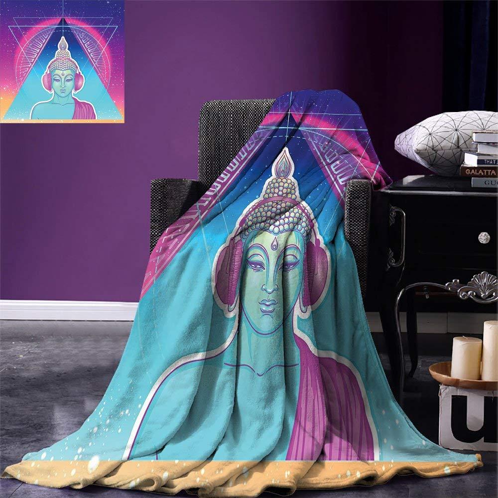Инди пледы одеяло Этническая религиозная фигура с наушниками Psychedelic Транс музыка Винтаж теплое одеяло из микрофибры
