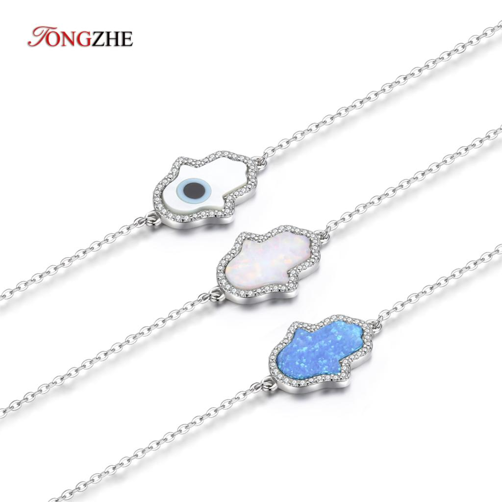 3a825d0fa Detail Feedback Questions about TONGZHE Fashion 2018 Synthetic Opal Hand  Bracelet Sterling Silver 925 Jewelry Hamsa Hand of Fatima Genuine Bracelets  for ...
