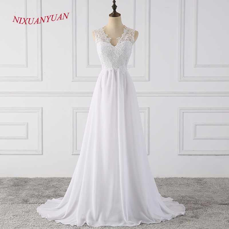 NIXUANYUAN 2018 Hot Sale Simple Chapel Train Long Zipper Appliques A Line Beach Wedding Dress White Chiffon Wedding Gown 2018