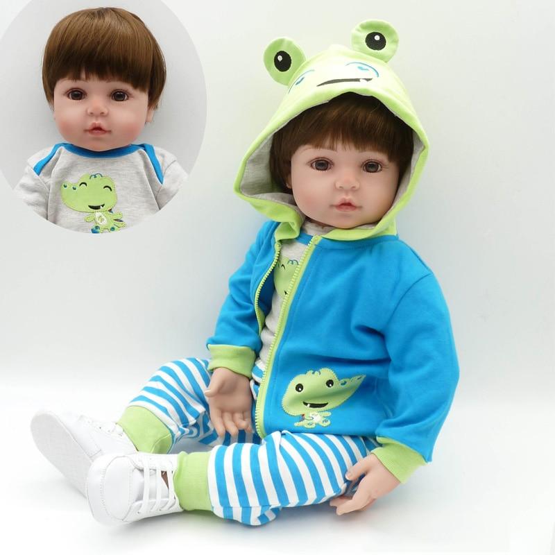 "22"" 55cm New Popular Adora Cotton Body Lifelike Newborn Baby Boy With Pretty Clothes Children Gift Silicone Reborn Baby Dolls"
