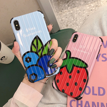 VZD Strawberry Fruit Soft TPU Solid color Phone Case For iPhone XS XR Max X 5 5S SE 6 6S 7 Plus Back Cover