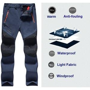 Image 2 - Oversized Men Winter Fleece Waterproof Outdoor Pants Soft shell Trousers Camp Fish Trekking Climb Hiking Sport Travel Training