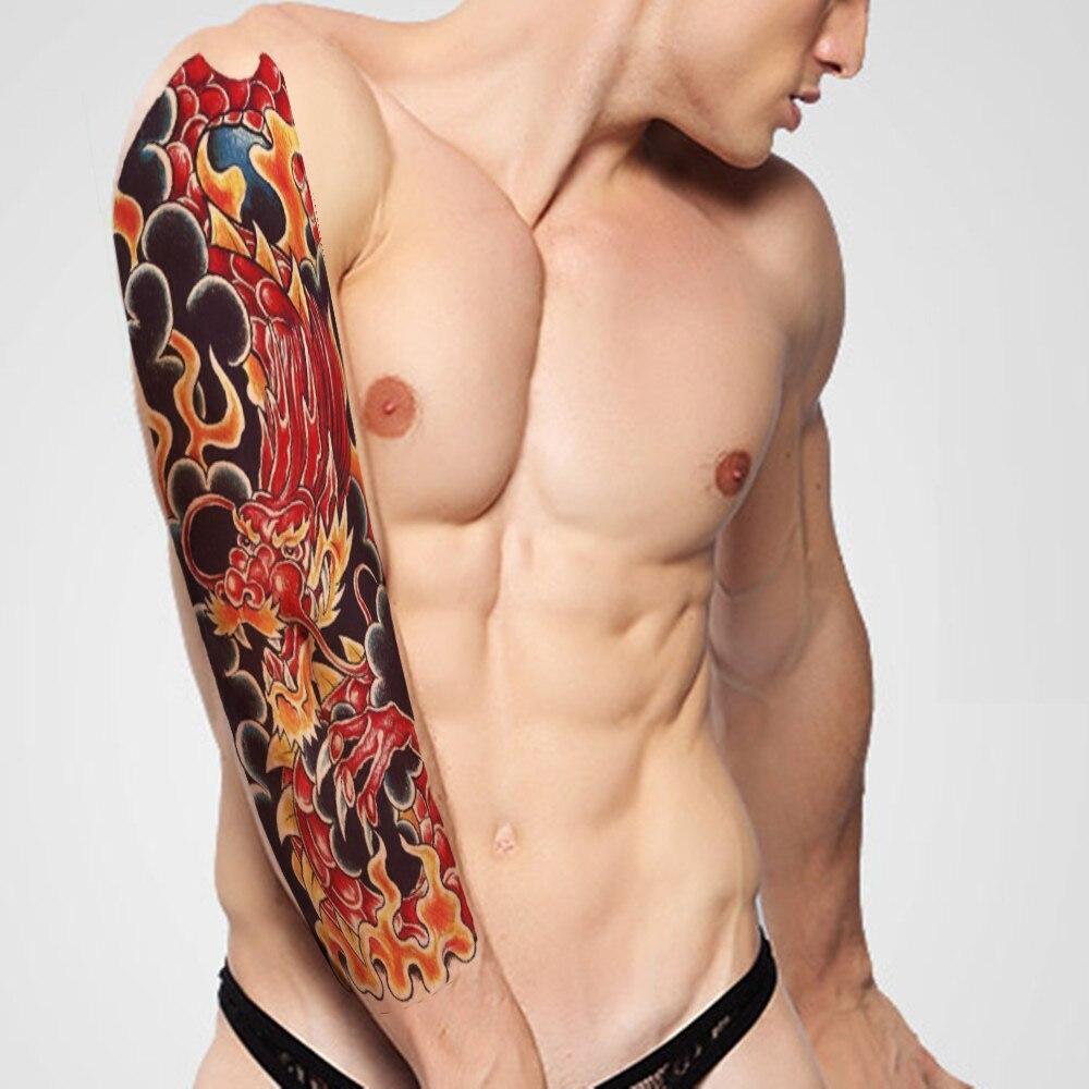 Дракон большой татуировки Прохладный Большой Водонепроницаемый поддельные вставить Стикеры ног картина череп полные руки Бумага татуиров...